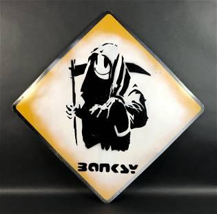 Banksy (British, 1974) style of - Aerosol on Metal