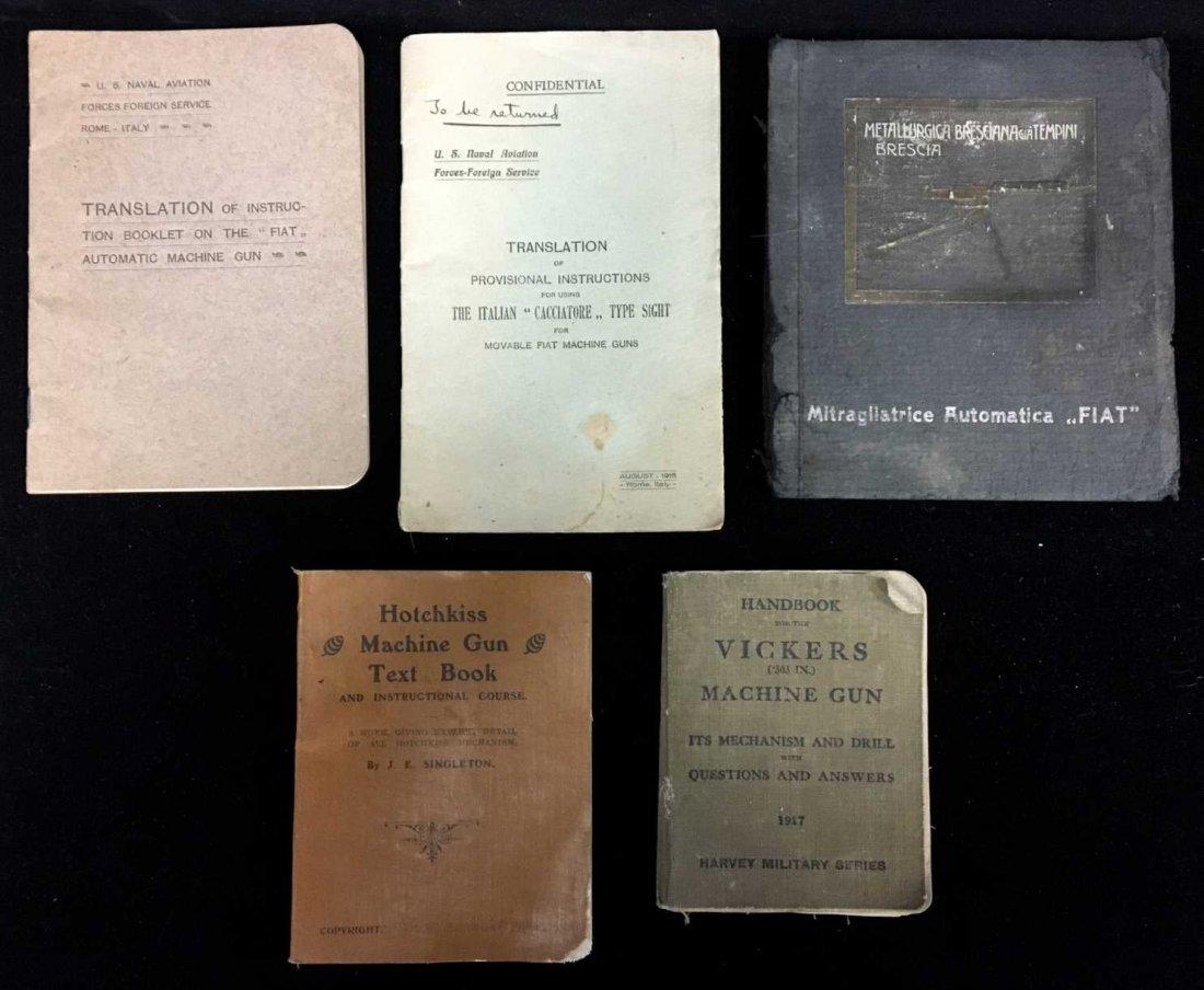 Lot of 5 World War I Era Machine Gun Manuals --