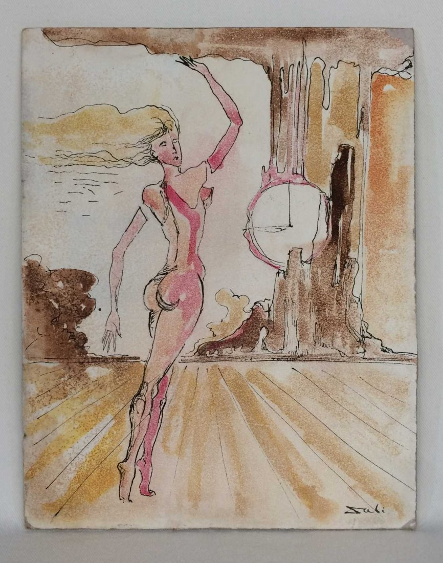 """Original Ink and Watercolor on Board, Signed """"Dali"""""""