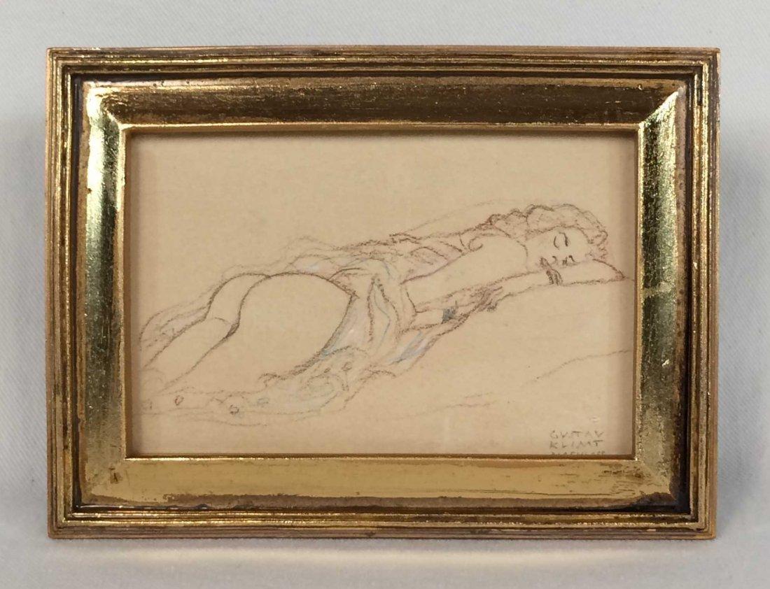 "Original Pencil Sketch Signed ""Gustav Klimt Nachlass"""