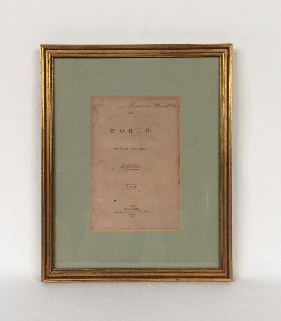 "Signed ""Alexander Hamilton"" on Framed Title Page"