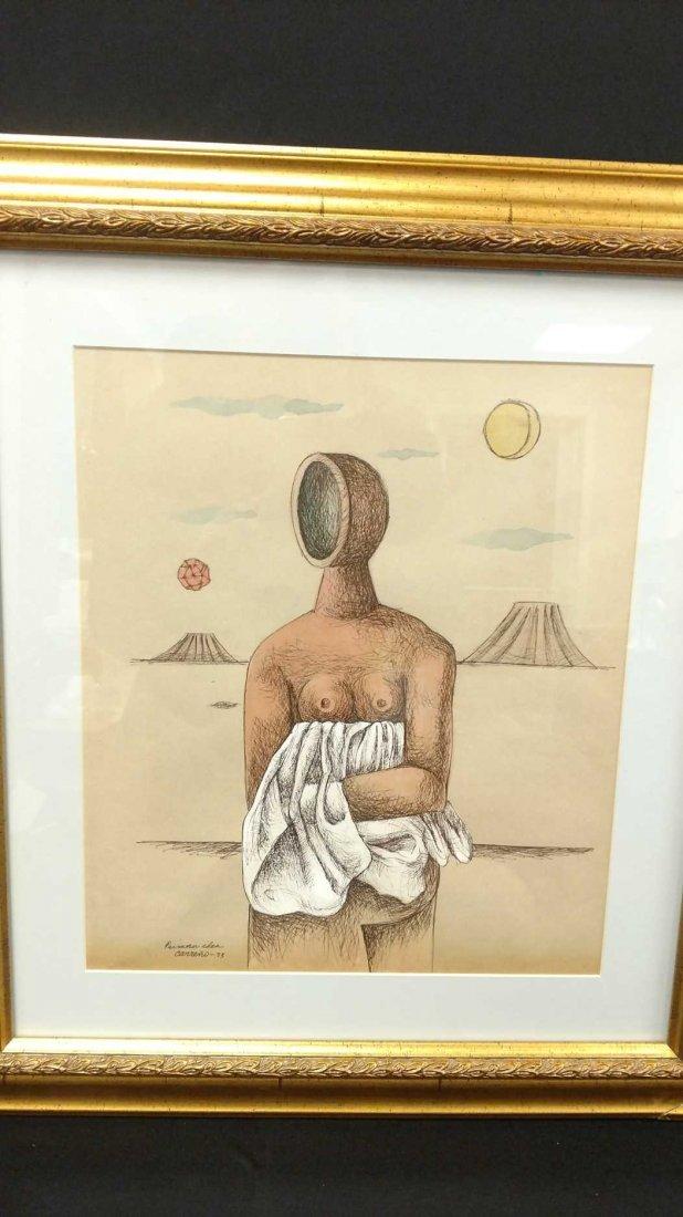 "Original Ink and Watercolor, Signed ""Carreno 73 """