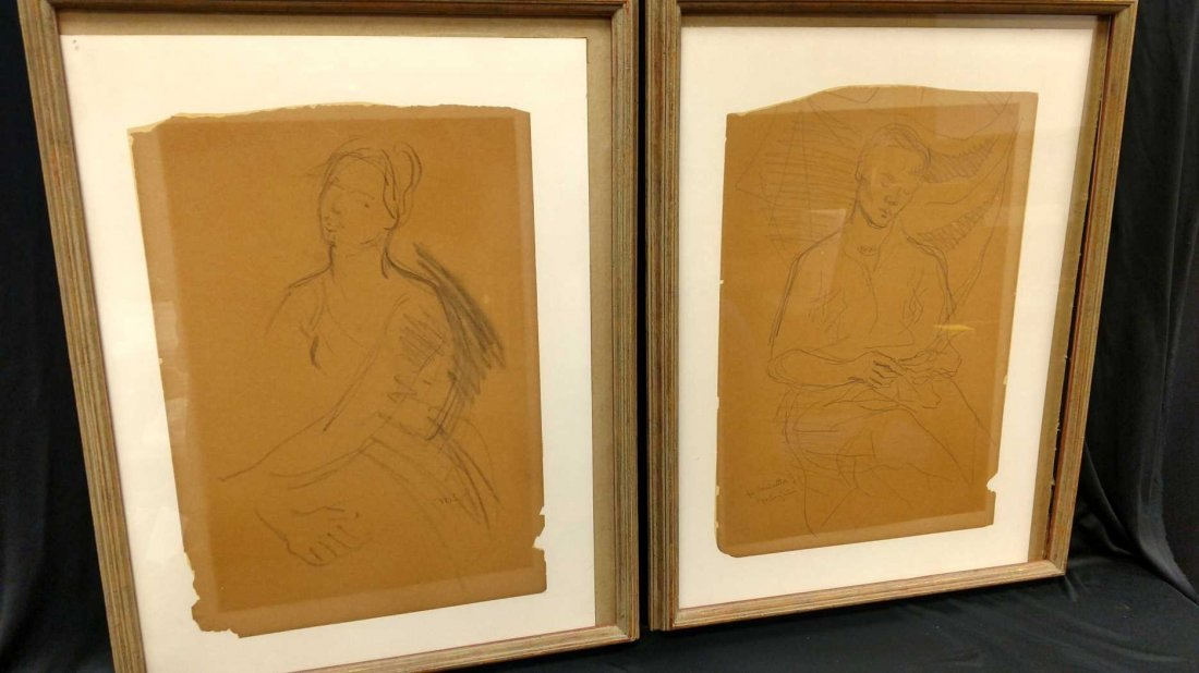 """Pair of Framed Sketches, Signed """"M. Soyer"""" and """"MS"""""""