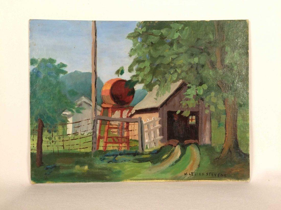 "Original Painting on Board Signed ""W. Lester Stevens"""