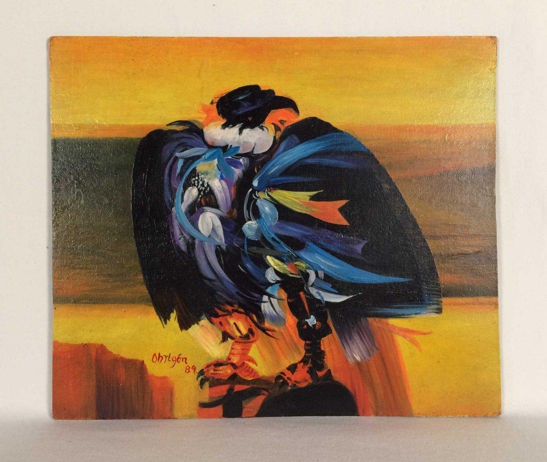 "Original Oil Painting on Board Signed ""Obregon 89"""