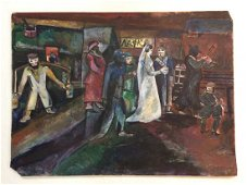 "Original Painting Signed ""Marc Chagall 1910 Paris"""