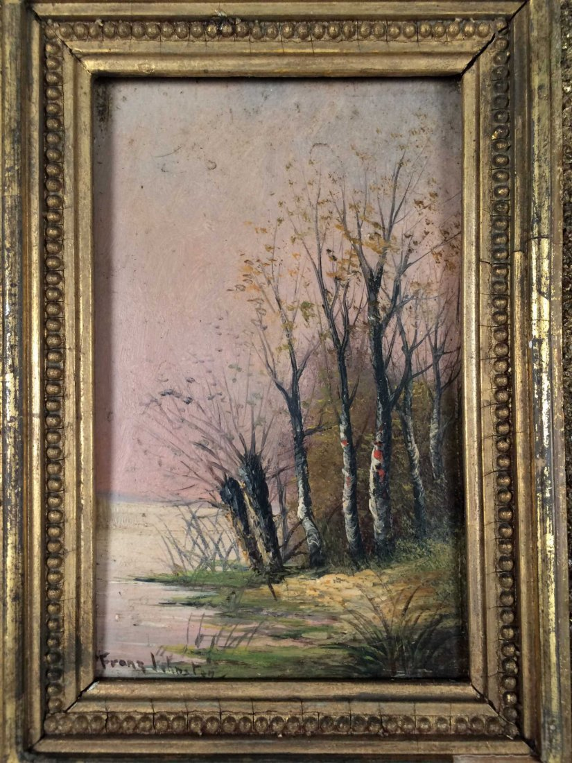 "Original Oil on Wood, Signed ""Franz Johnston"""