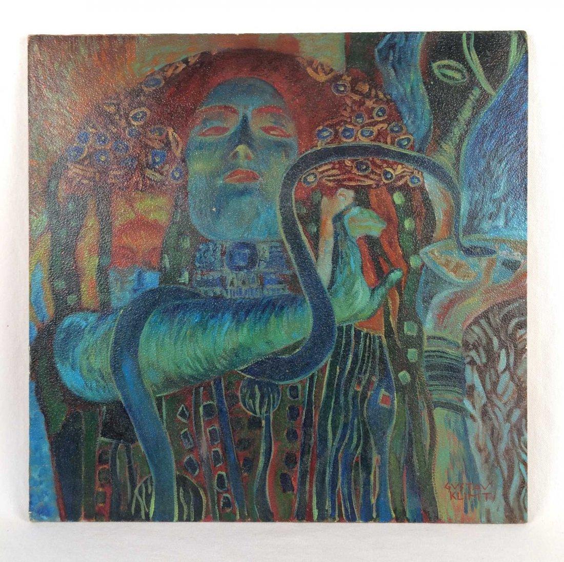 """Original Oil on Board Signed """"Gustav Klimt"""" -- Stamped"""