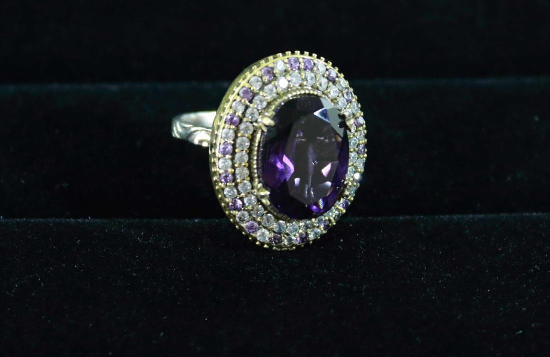 Vintage Amethyst Ring with Halo Pave Setting