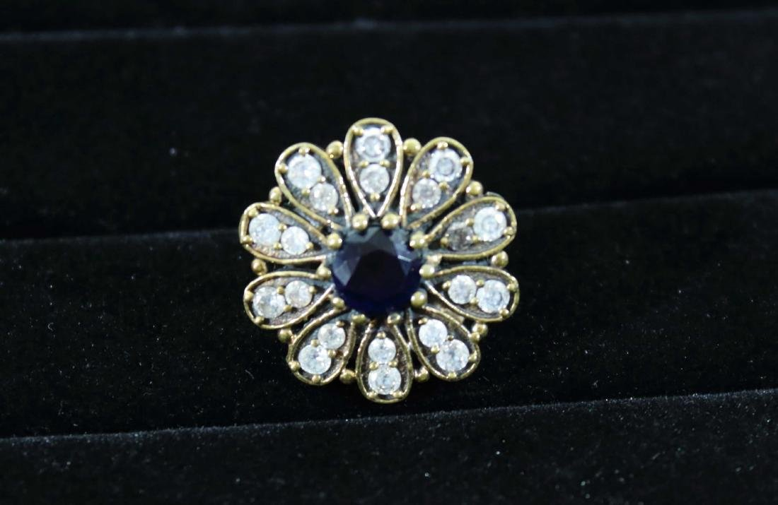 Victorian Daisy Ring with Blue Spinel & White Zircons