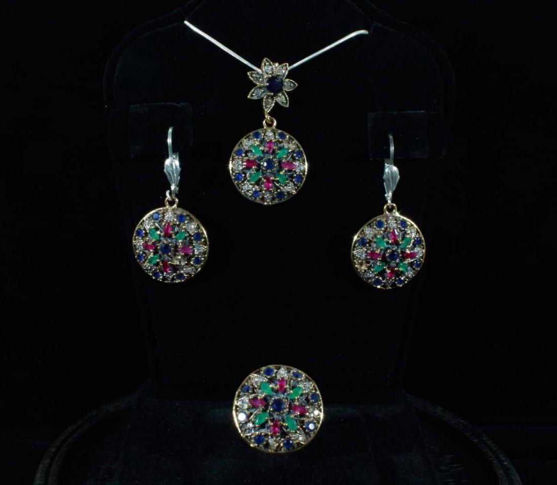 Vintage Multi Gemstone Pendant Set