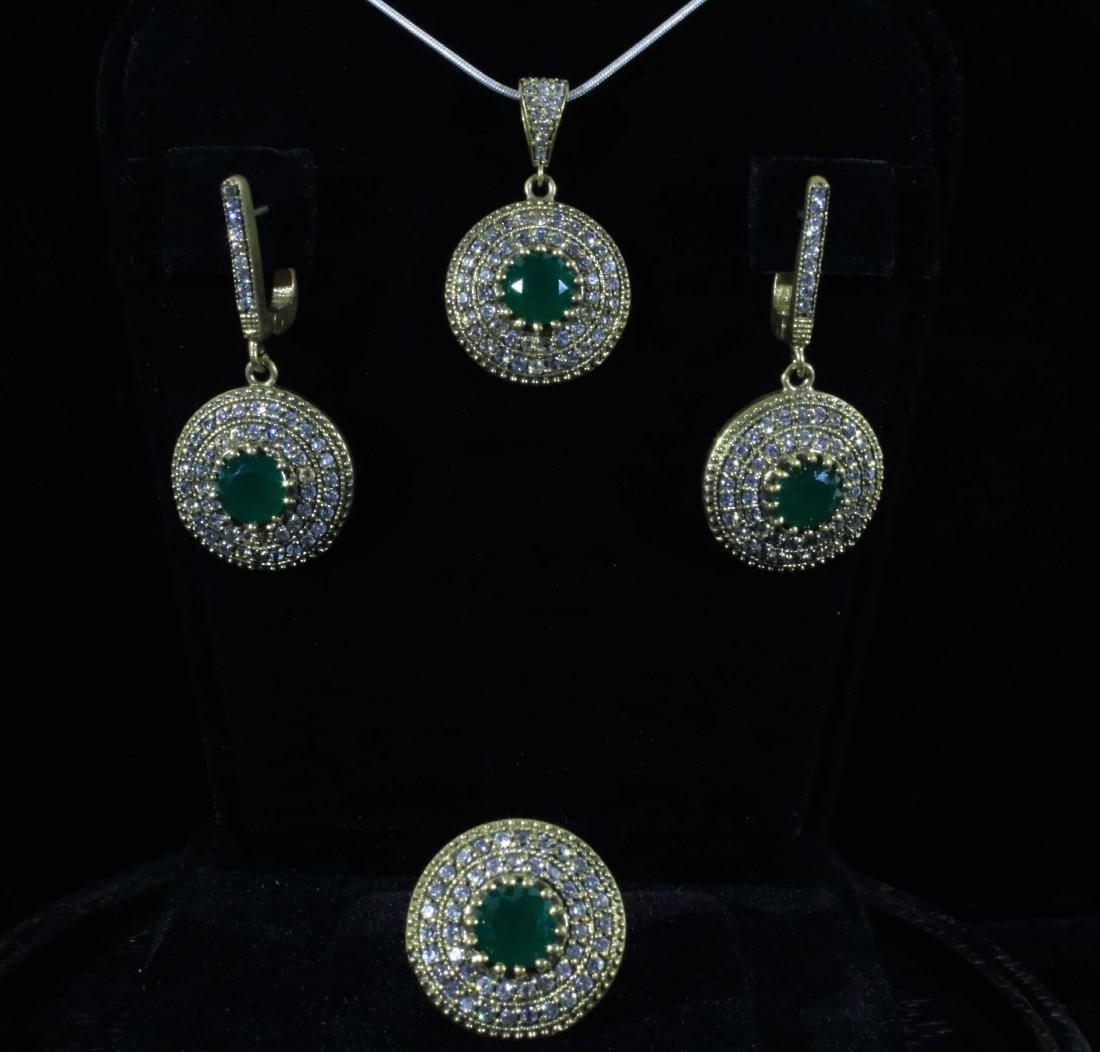 Vintage Lab Emerald Double Halo Pendant Set