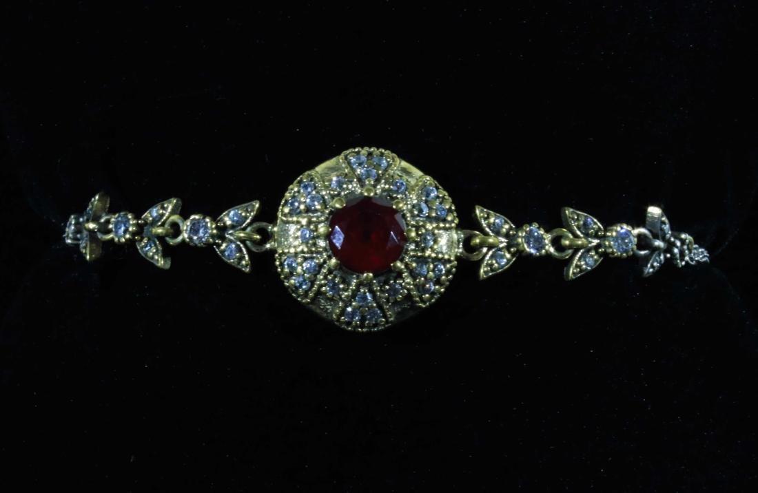 Victorian Garnet & Pave White Zircon Link Bracelet