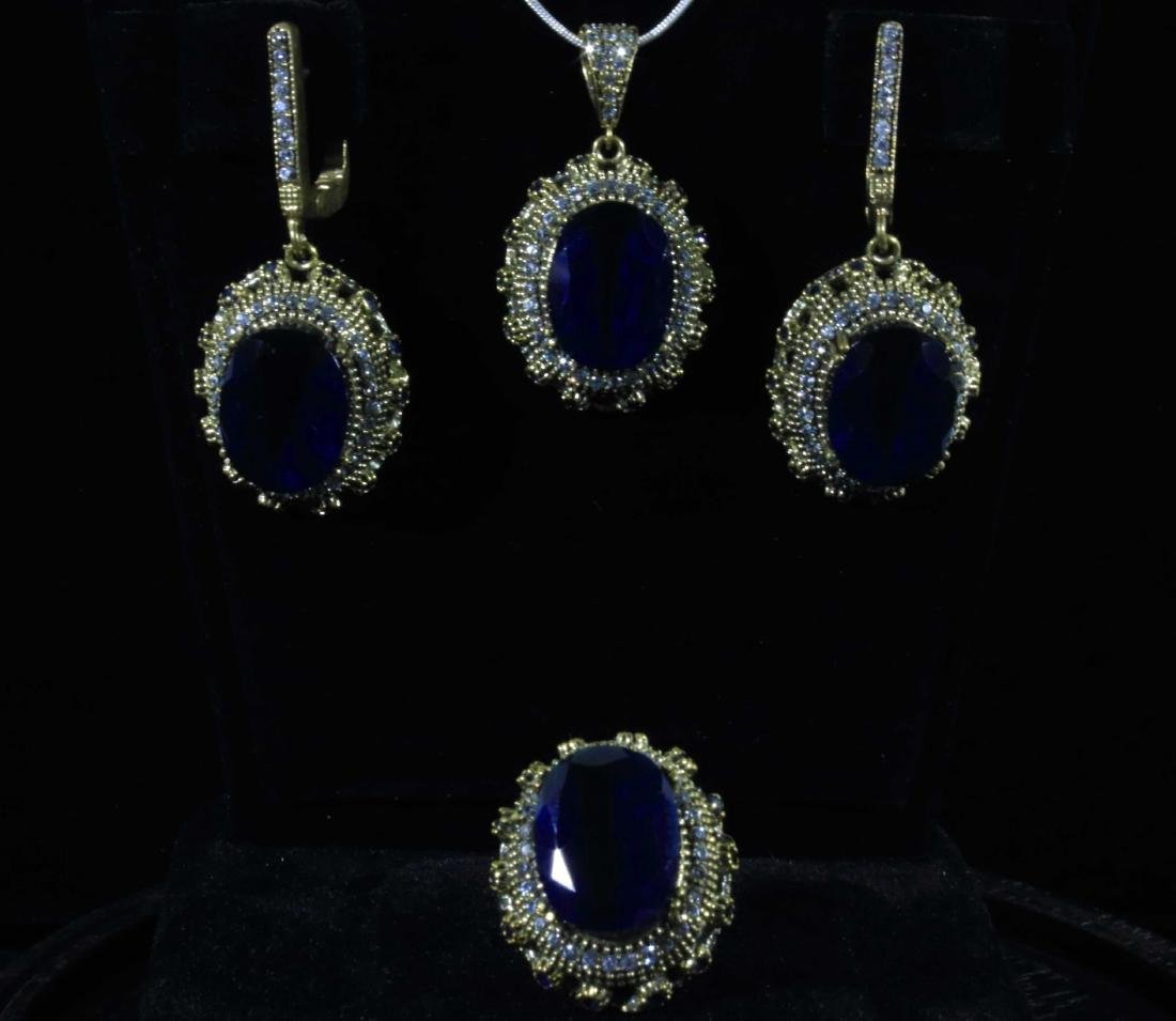Victorian Lab Sapphire Pave and Prong Zircon Halos