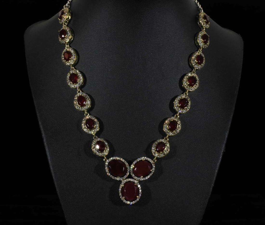 Royal Victorian Garnet &  Pave Halo Necklace