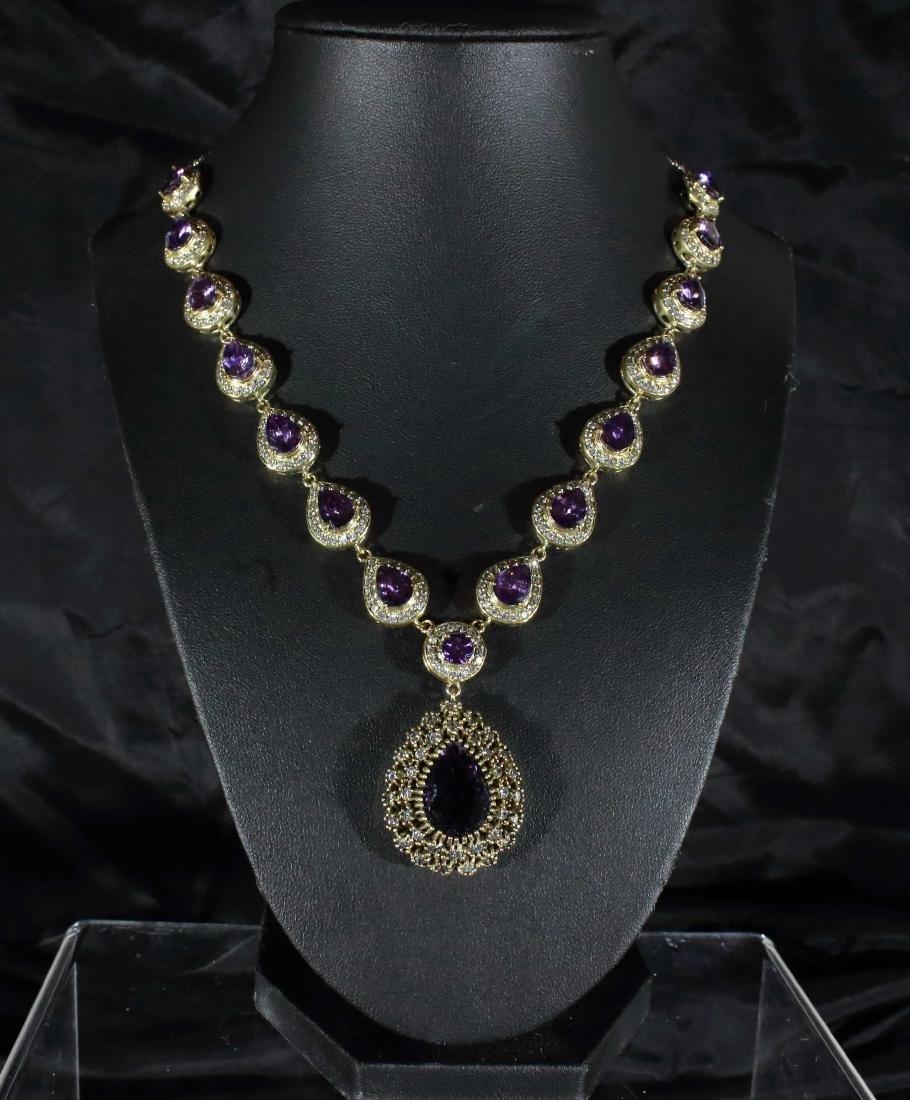 Royal Victorian Amethyst  Pear Drop Necklace