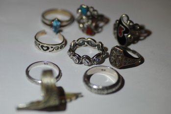 LOT OF 9 STERLING MIXED RINGS