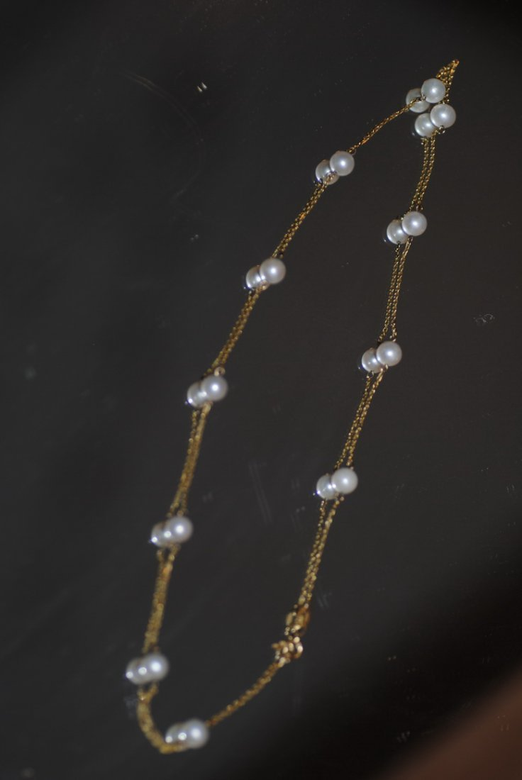 VINTAGE 14K & PEARL TYPE GOLD NECKLACE