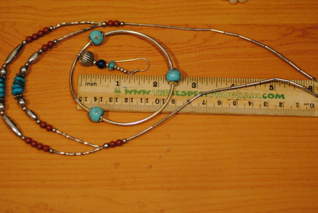 STERLING NECKLACE BRACELET TURQUIOSE INFLUENCED LOT - 5