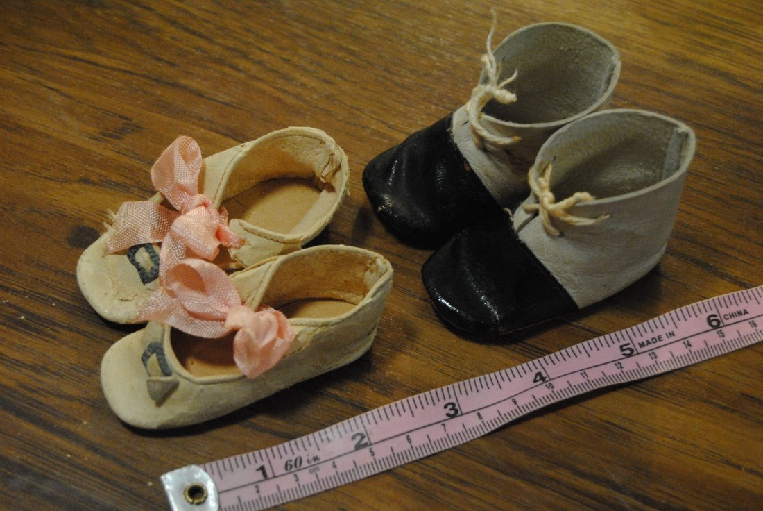 LOT OF 2 PAIRS ANTIQUE DOLL SHOES