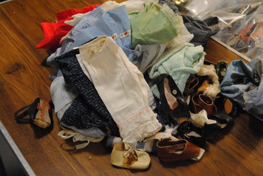 LARGE LOT OF ANTIQUE/VINTAGE DOLL CLOTHING ETC.