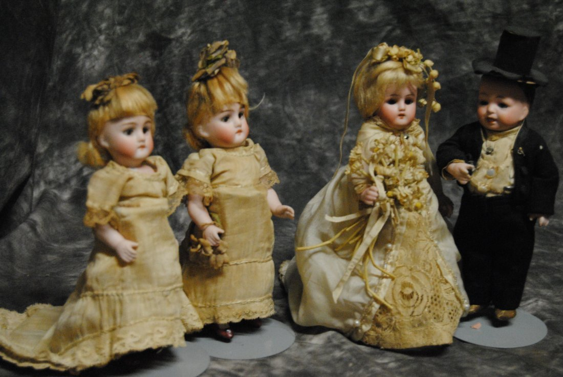 "RARE... LOT OF 4 ELEGANT KESTNER.. "" ALL BISQUE DOLLS """