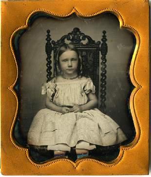 GIRL, CHAIR, GIRL ON CHAIR. 1/6 plate daguerreotype,