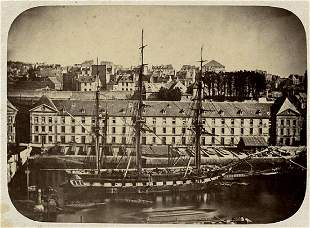FRENCH CORVETTE IN BREST, 1860'S. Albumen print