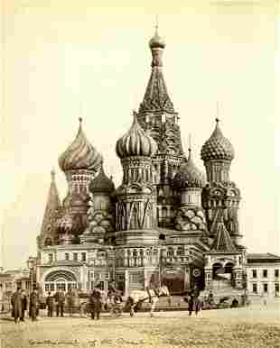 SCENES IN MOSCOW. Board mount with albumen prints