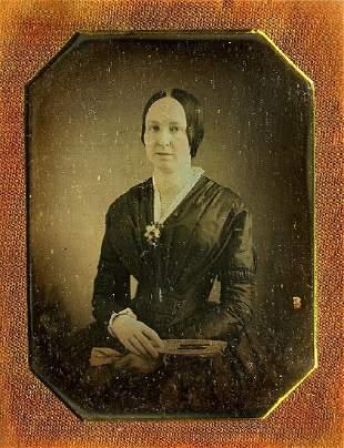 DAGUERREOTYPE WOMAN WITH A FAN FLOWER 16 plate