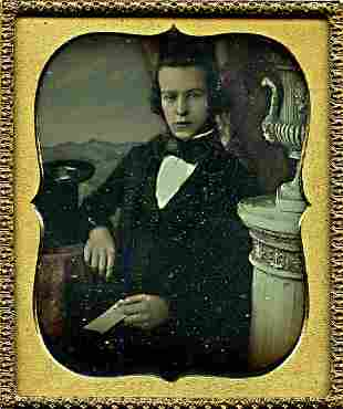 DAGUERREOTYPE YOUNG MAN HOLDS A PAPER 16 plate