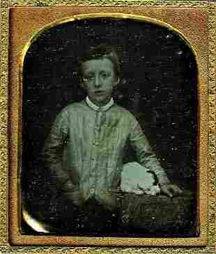 DAGUERREOTYPE SWEET BOY WITH A PUPPY 16 plate