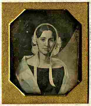 DAGUERREOTYPE. PAINTING OF A YOUNG WOMAN. 1/6 plate