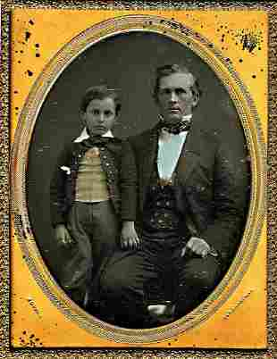 DAGUERREOTYPE FATHER AND SON BY GURNEY plate