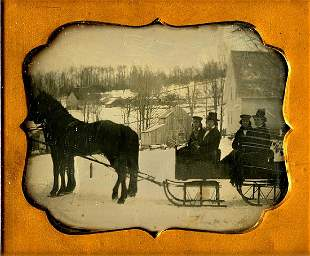 WINTER SCENE, FATHERS AND SONS IN SLEIGHS. 1/6 plate