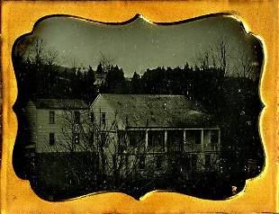 GREEK REVIVAL HOUSE IN WINTER 16 plate daguerreotype