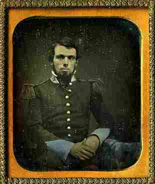 DAGUERREOTYPE. 55th REGIMENT YOUNG OFFICER WITH SHAKO.