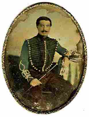 DAGUERREOTYPE DASHING FRENCH OFFICER plate oval