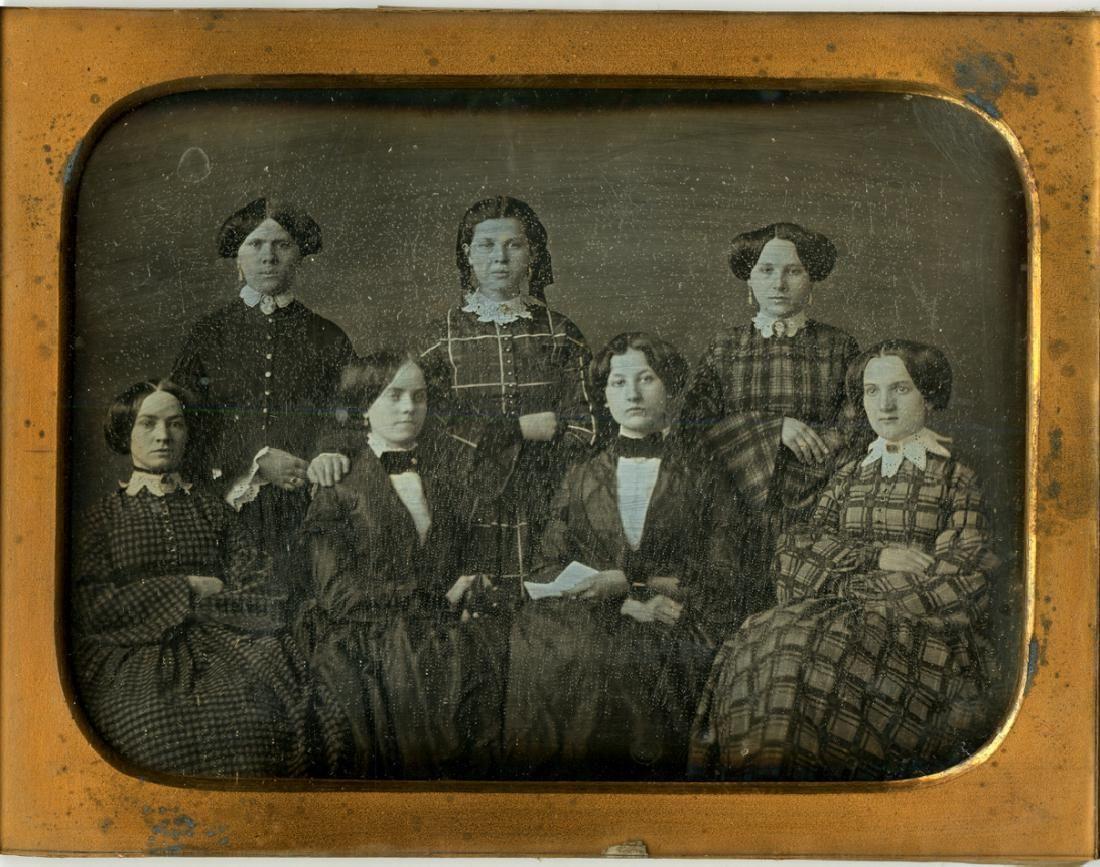Seven women. Half plate daguerreotype.