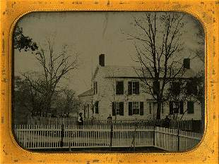 House with bare trees. Ambrotype