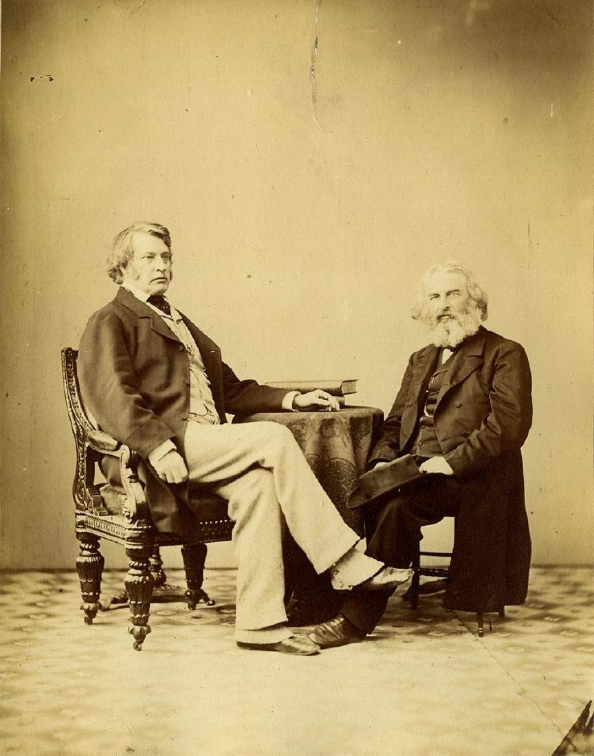 Alexander Gardner, Charles Sumner and Longfellow, 1863.