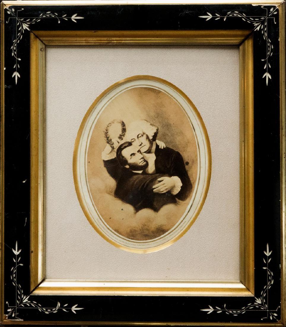 """Apotheosis of Lincoln by Washington."""