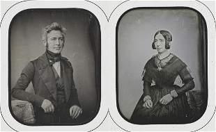 Sabatier-blot. Matching Pair 1;4 Plate Daguerreotypes