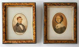 Young couple. Colored salt or albumen, matching frames