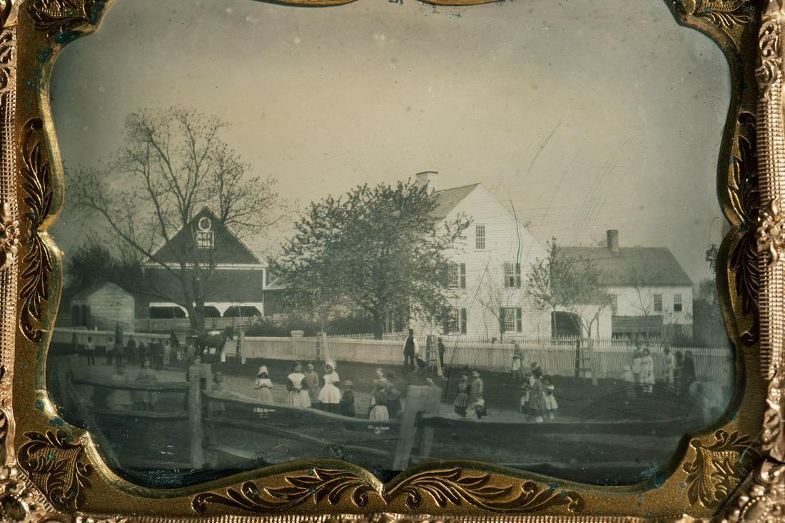Children in a schoolyard. Quarter plate daguerreotype
