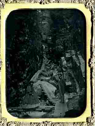 Couple in Flume Gorge, Franconia Notch, N. Hampshire.