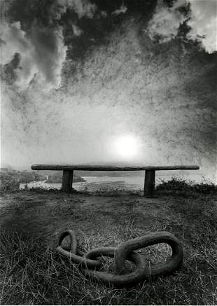 Jerry Uelsmann, Untitled, Bench and chain, landscape