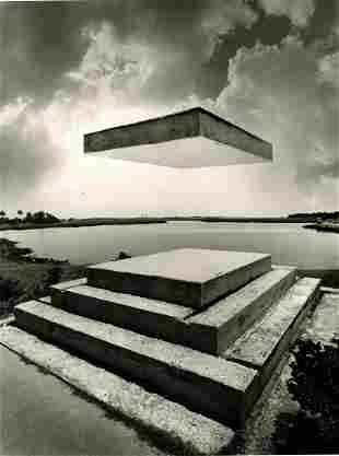 Jerry Uelsmann, Untitled.. Monument with lifted slab.