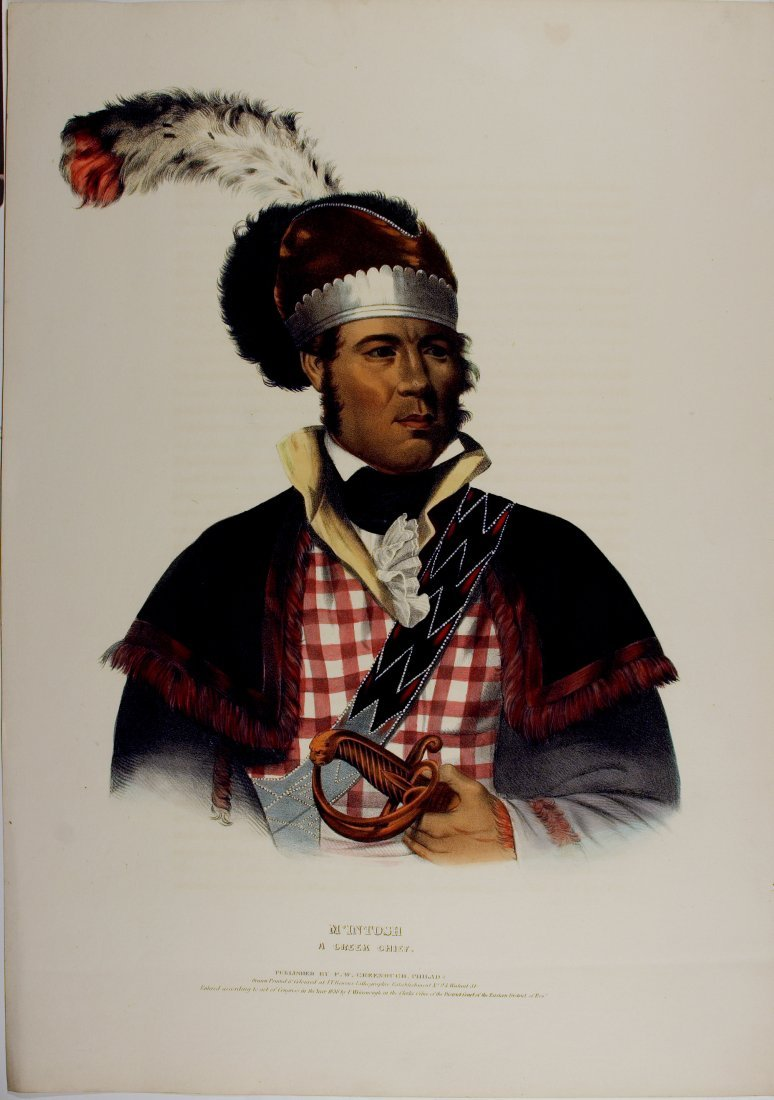 M'INTOSH. A Creek Chief. Colored litho McKenney & Hall