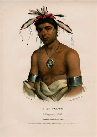 J-AW-BEANCE a Chippeway Chief. Colored 1st state litho.
